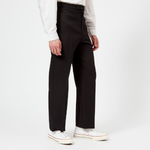 Lemaire Men's Wool Gabardine Loose Flat Front Trousers - Black
