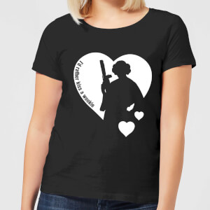 T-Shirt Femme Leia I'd Rather Kiss A Wookie (Star Wars) - Noir