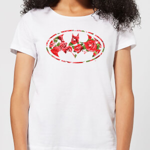 DC Comics Floral Batman Logo Women's T-Shirt - White