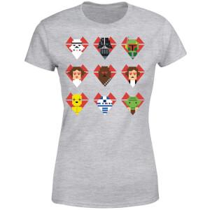 T-Shirt Femme Cœurs Pixels (Star Wars) - Gris