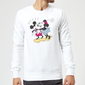 Disney Mickey Mouse Minnie Kiss Sweatshirt - White