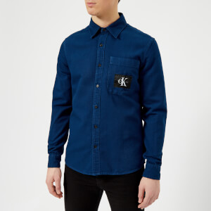 Calvin Klein Jeans Men's Wesp Regular Fit Patch Logo Long Sleeve Shirt - Blue Depths