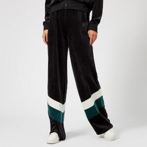 Juicy Couture Women's Colourblock Lightweight Velour Wide Leg Pants - Pitch Black Dark Absinthe Combo