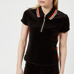 Juicy Couture Women's Stretch Velour Polo Shirt - Pitch Black