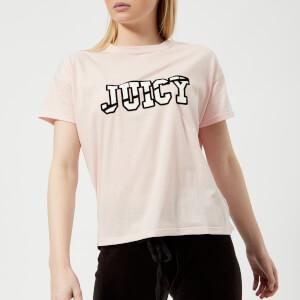 Juicy Couture Women's Juicy Logo Split Neck Graphic T-Shirt - Cali Sunrise