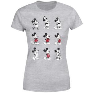 Disney Mickey Mouse Evolution Nine Poses Women's T-Shirt - Grey