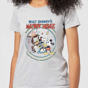 Disney Mickey Mouse Retro Poster Piano Women's T-Shirt - Grey