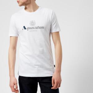 Aquascutum Men's Griffin Crew Neck Logo Short Sleeve T-Shirt - White
