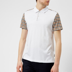 Aquascutum Men's Rutland Vicuna Detail Short Sleeve Polo Shirt - White