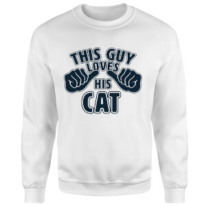 This Guy Loves His Cat Pullover - Weiß