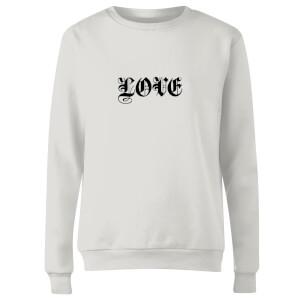 Love Gothic Text Women's Sweatshirt - White