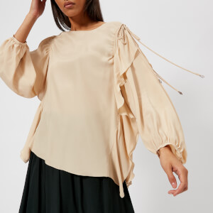 See By Chloe Women's Ruffle Tie Sleeve Blouse - Angora Beige