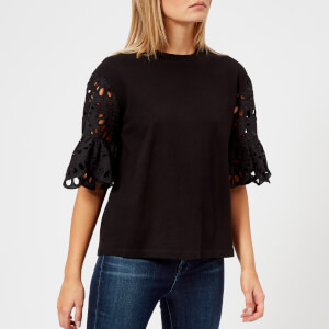 See By Chloe Women's Detailed Sleeve T-Shirt - Black