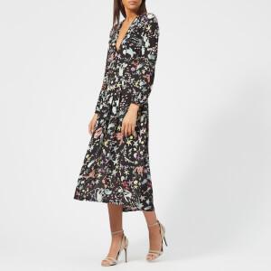 RIXO London Women's Camellia V Neck Midi Dress with Slits - Under the Sea Black