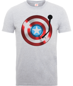 T-Shirt Marvel Avengers Assemble Captain America Record Shield - Grigio