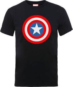 T-Shirt Marvel Avengers Assemble Captain America Simple Shield - Nero