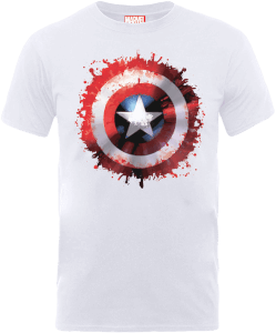 T-Shirt Homme Marvel Avengers Assemble - Badge Bouclier Captain America - Blanc