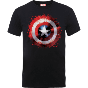 T-Shirt Marvel Avengers Assemble Captain America Art Shield Badge - Nero