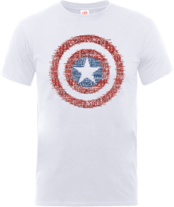 Marvel Avengers Assemble Captain America Shield Art T-shirt - Wit