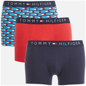Tommy Hilfiger Men's 3 Pack Trunk Boxer Shorts - Malibu Blue/Lollipop/Navy Blazer