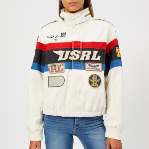 Polo Ralph Lauren Women's Racing Bomber Jacket - White/Blue/Red/Black Multi