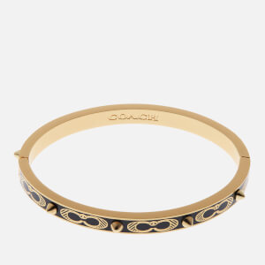 Coach Women's Signature C Studded Enamel Bangle - Black