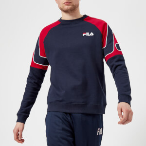 FILA Men's Aria Archive Raglan Sweatshirt - Navy/Red