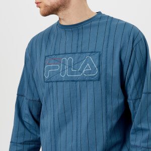 FILA Men's Liam Hodges X FILA Stripe Baseball Long Sleeve Top - Blue Ash