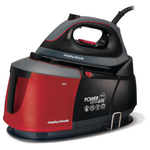 Morphy Richards Power Steam Elite with 6.5 Bar Surge and Ceramaslide Auto Clean - Black/Red