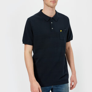Lyle & Scott Men's Short Sleeve Textured Knitted Polo Shirt - Dark Navy
