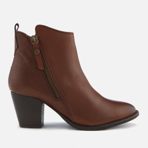 Dune Women's Pontoons Leather Heeled Ankle Boots - Tan