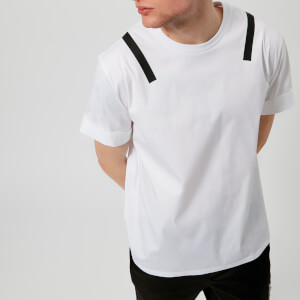 Neil Barrett Men's Poplin Sleeve Tape Shoulder T-Shirt - White