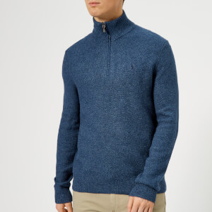 Polo Ralph Lauren Men's Half Zip Knit Jumper - Derby Blue Heather