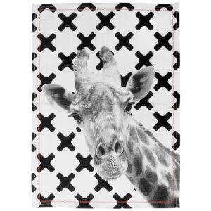 Cotton Tea Towel with Orange Stitch - Giraffe Face