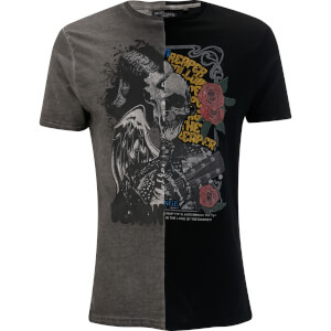Brave Soul Men's Fear Splice T-Shirt - Black/Grey