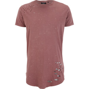 Brave Soul Men's Genko Acid Wash Distressed T-Shirt - Pink