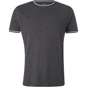 Brave Soul Men's Federer Tipped T-Shirt - Dark Charcoal