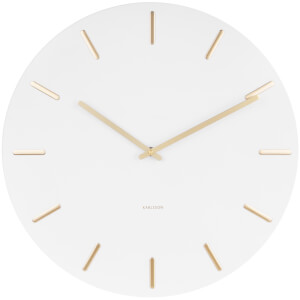 Karlsson Charm Wall Clock - White with Gold Battons