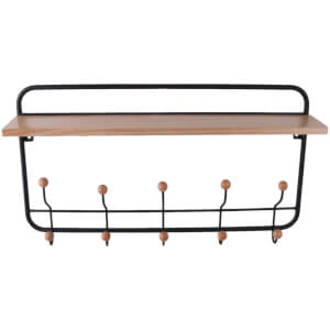 Present Time Metal Coat Rack with Wooden Shelf - Black