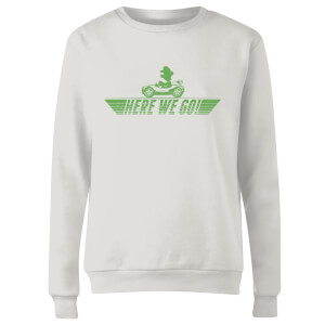 Mario Kart Here We Go Luigi Women's Sweatshirt - White