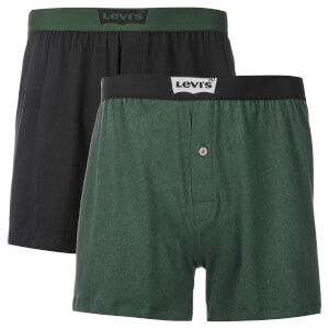 Levi's Men's Long Jersey 2 Pack Boxers - Dark Green