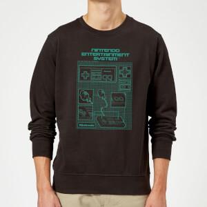 NES Controller Blueprint Schwarz Pullover - Schwarz