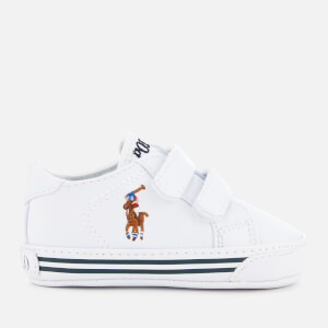 Polo Ralph Lauren Babies' Easten EZ Layette Canvas Velcro Trainers - White Tumbled/Multi