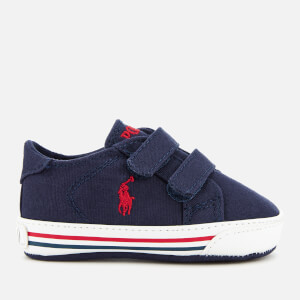 Polo Ralph Lauren Babies' Easten EZ Layette Canvas Velcro Trainers - Navy/Red