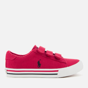 Polo Ralph Lauren Kids' Easten EZ Canvas Velcro Trainers - Red/Navy