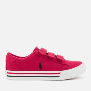 Polo Ralph Lauren Kids' Easten EZ Canvas Velcro Trainers - Red/Navy