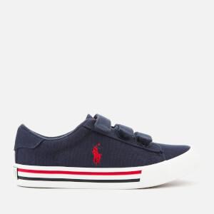 Polo Ralph Lauren Kids' Easten EZ Canvas Velcro Trainers - Navy/Red