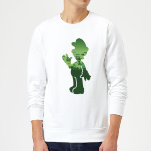 Nintendo Super Mario Luigi Silhouette Sweatshirt - White