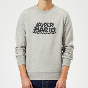 Nintendo Super Mario Distressed Logo Sweatshirt - Grey