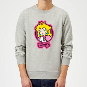 Sweat Homme Super Mario Kanji Peach - Gris